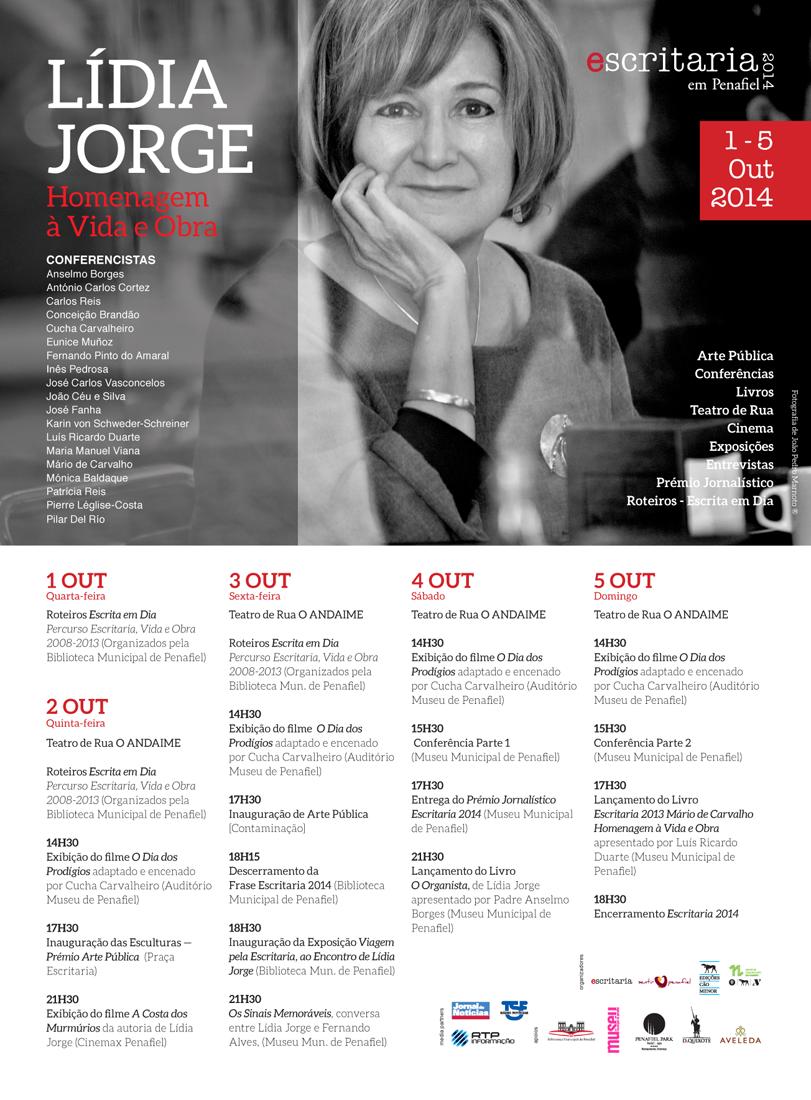 Escritaria 2014 – de 1 a 5 de Outubro em Penafiel – Homenagem à Vida e Obra de Lídia Jorge