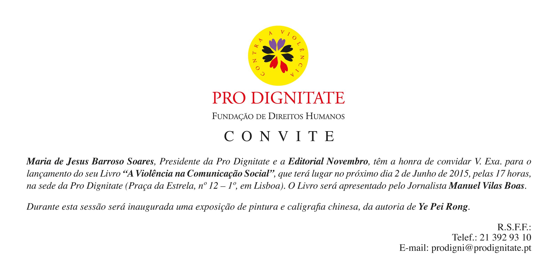 """Apresentação do livro """"A Violência na Comunicação Social"""", de Maria de Jesus Barroso Soares, na Fundação Pro Dignitate"""