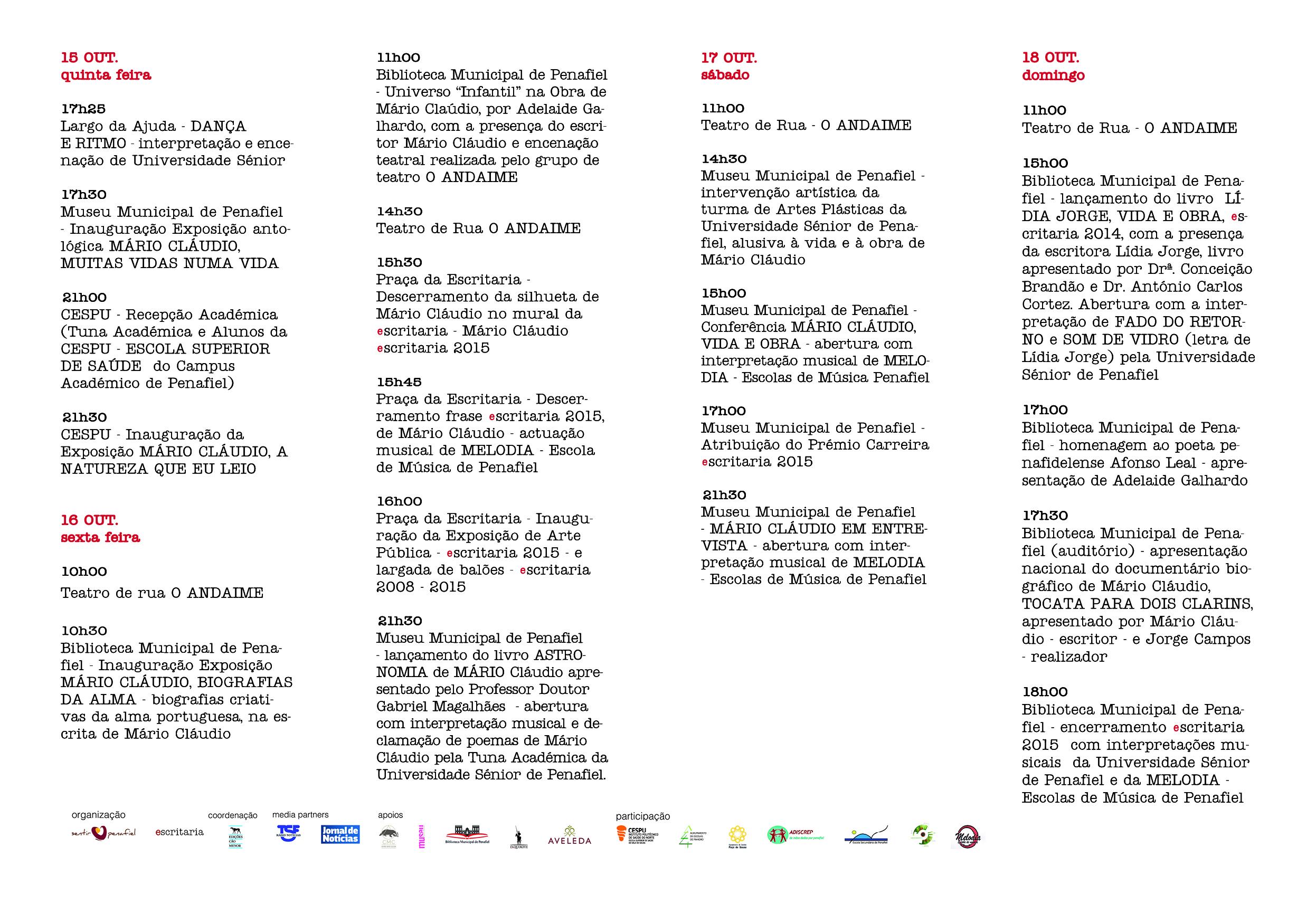 ESCRITARIA 2015 – Homenagem à vida e obra de Mário Cláudio