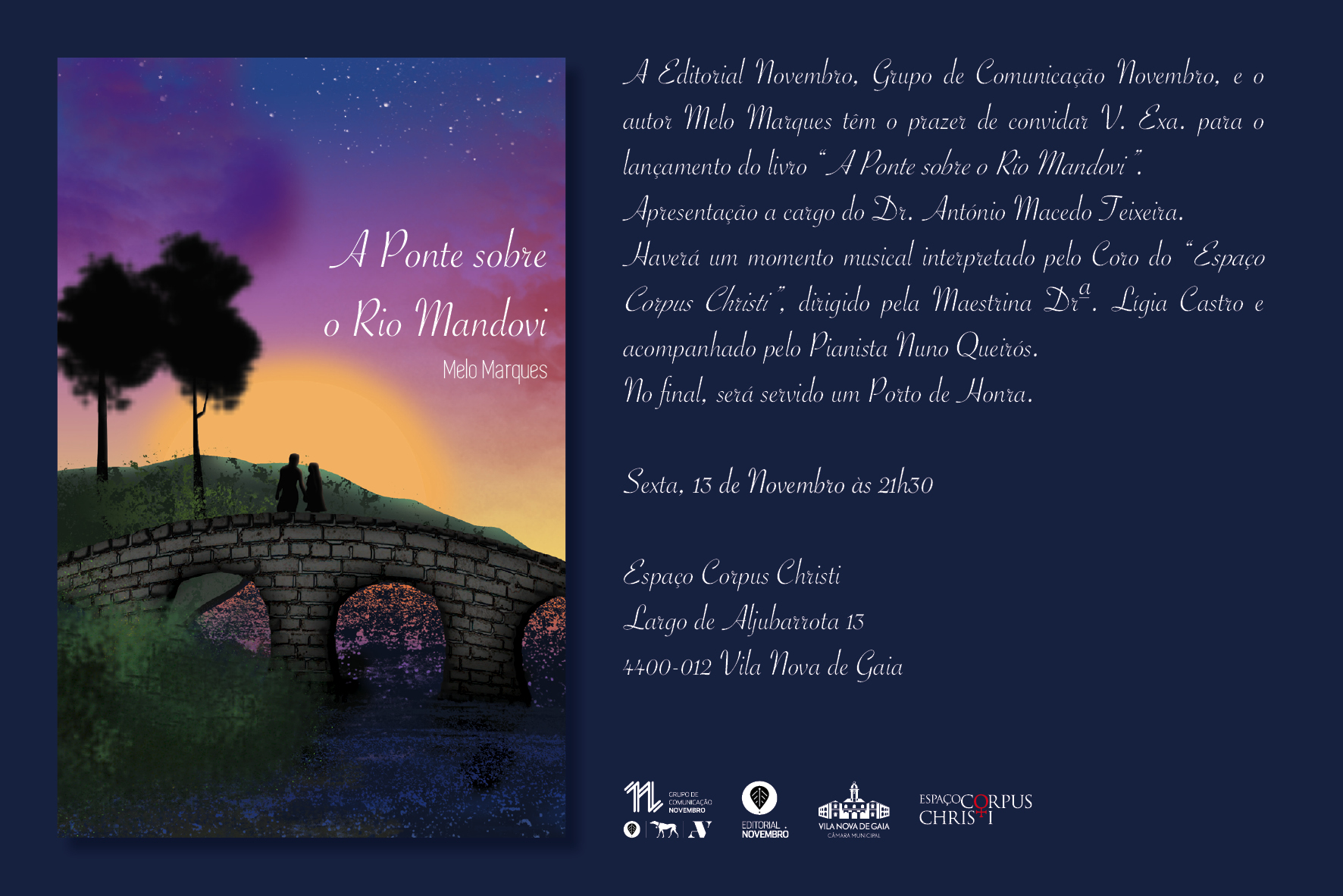 """Lançamento do livro """"A Ponte sobre o Rio Mandovi"""", de Melo Marques"""