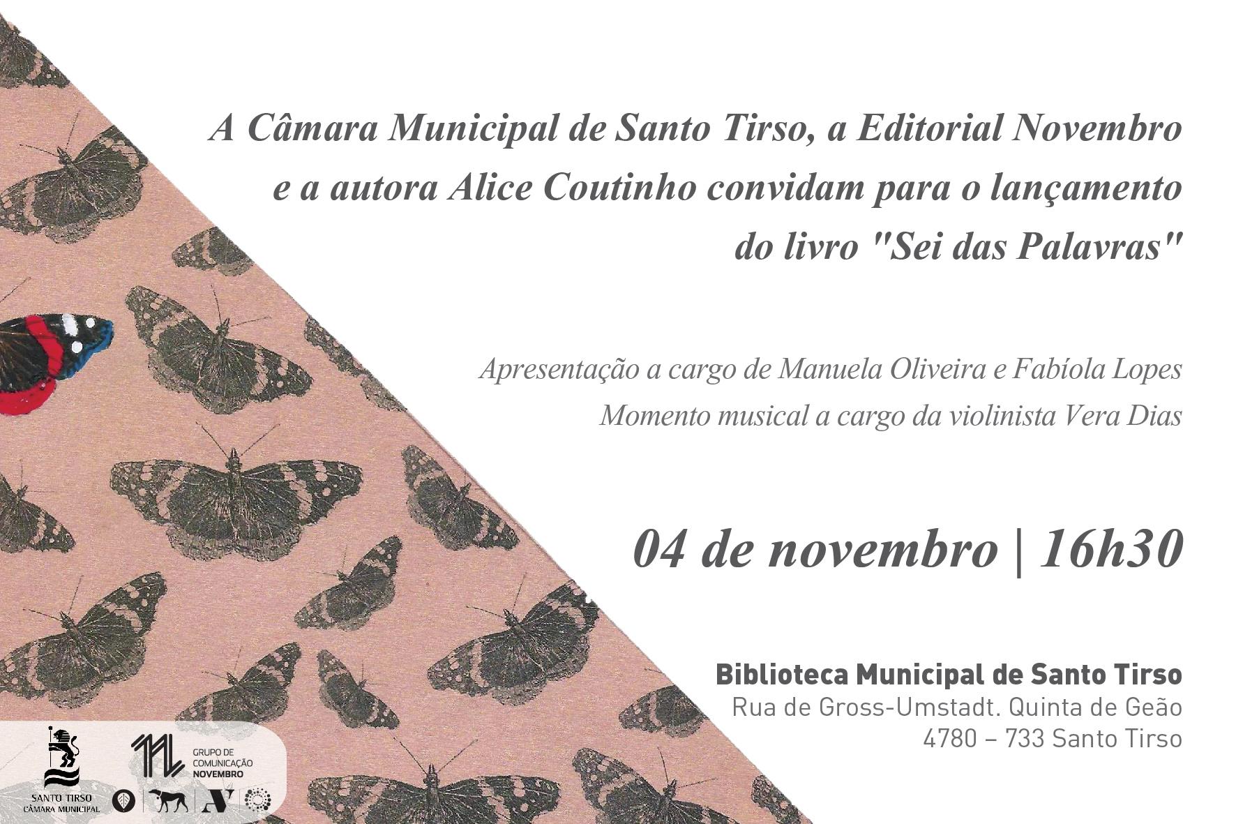 """Lançamento do livro """"Sei das Palavras"""" de Alice Coutinho"""