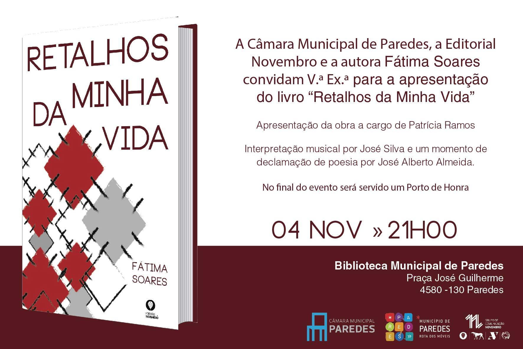 """Apresentação do livro """"Retalhos da Minha Vida"""", de Fátima Soares"""